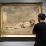 """Artist Jacob Collins looks at """"The Death of Bara"""" by Jacques Louis David at The Met Breuer in New York on July 15, 2016. (Milene Fernandez/Epoch Times)"""